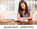 beautiful eight year old girl... | Shutterstock . vector #156875555