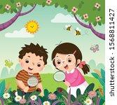 vector illustration of two kids ... | Shutterstock .eps vector #1568811427