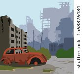 Cartoon Color Ruined City...