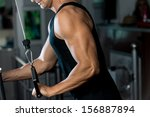 triceps pulldown workout | Shutterstock . vector #156887894