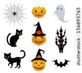 halloween material set | Shutterstock .eps vector #156893765