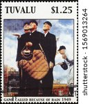 Small photo of Milan, Italy - November 09, 2019: Painting on baseball by Norman Rockwell on stamp