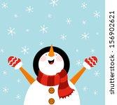 snowman enjoying snow | Shutterstock .eps vector #156902621