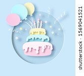 birthday cake with cream ... | Shutterstock .eps vector #1569041521