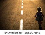 Little Girl Running Away On The ...