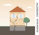 house foundation problem. crack ...   Shutterstock .eps vector #1569083794