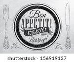 poster lettering bon appetit...   Shutterstock .eps vector #156919127