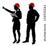engineer and foreman working... | Shutterstock .eps vector #156920261