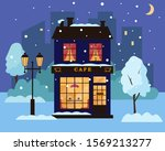 cafe or restaurant building in... | Shutterstock .eps vector #1569213277