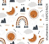 seamless pattern with moon sun... | Shutterstock .eps vector #1569214624