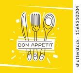 bon appetit kitchen monoline... | Shutterstock .eps vector #1569310204