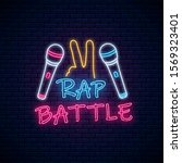 rap battle neon sign with two...