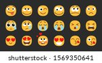 emoji set. joyful  sad and love ... | Shutterstock .eps vector #1569350641