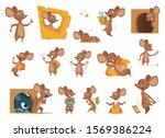 mouse cartoon. small mice in... | Shutterstock .eps vector #1569386224