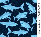 Shark Pattern. Nautical Ocean...