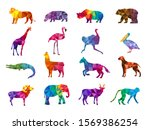 low poly animals. silhouettes... | Shutterstock .eps vector #1569386254