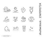 care skin icon set  sunscreen... | Shutterstock .eps vector #1569393724