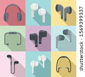 wireless earbuds icons set.... | Shutterstock .eps vector #1569399337