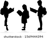 silhouette of a child with a... | Shutterstock . vector #1569444394