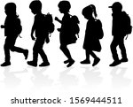 silhouette of a child with a... | Shutterstock . vector #1569444511