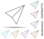 paper airplane multi color icon....