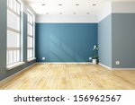 empty blue living room with big ... | Shutterstock . vector #156962567