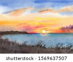 Watercolor Drawing Of A Sunset...
