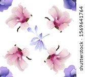 violet anemone. pink magnolia.... | Shutterstock .eps vector #1569641764