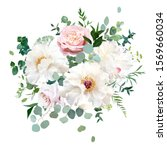 dusty pink blush rose  white... | Shutterstock .eps vector #1569660034
