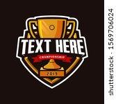 champion trophy mascot logo... | Shutterstock .eps vector #1569706024