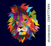 colorful lion head low poly... | Shutterstock .eps vector #1569777694