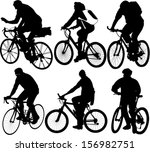 bicyclists collection vector | Shutterstock .eps vector #156982751