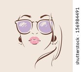 beautiful woman in glasses with ... | Shutterstock .eps vector #156984491