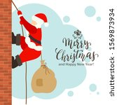 santa claus with a bag of gifts ... | Shutterstock .eps vector #1569873934