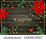 decorations with red poinsettia ... | Shutterstock .eps vector #1569873937