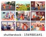 volunteer help people set.... | Shutterstock .eps vector #1569881641