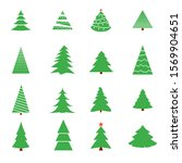 christmas tree vector icon set. ... | Shutterstock .eps vector #1569904651
