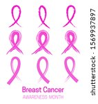 set of pink ribbons cancer... | Shutterstock .eps vector #1569937897