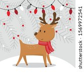 cute reindeer with christmas... | Shutterstock .eps vector #1569972541