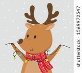cute reindeer bring decoration... | Shutterstock .eps vector #1569972547
