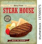 vintage steak house menu poster ...   Shutterstock .eps vector #157000571