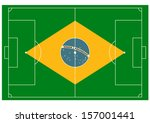 vector football field with ball ... | Shutterstock .eps vector #157001441
