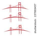 red bridges vector art | Shutterstock .eps vector #157003457