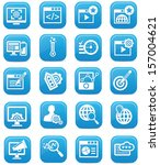 advertisement icons blue... | Shutterstock .eps vector #157004621
