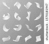 flying papers. blank white... | Shutterstock .eps vector #1570181947