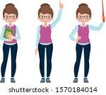 set of cute cartoon young woman ... | Shutterstock .eps vector #1570184014