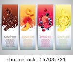 fruits and berries in milk... | Shutterstock .eps vector #157035731