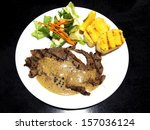beef steak and salad in the dish | Shutterstock . vector #157036124