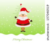santa claus with christmas tree ... | Shutterstock .eps vector #157040519