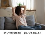 relaxed lazy young lady hold...   Shutterstock . vector #1570550164